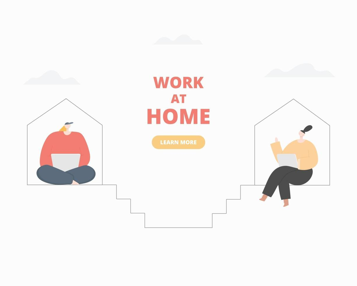 kvinnor som arbetar på bärbar dator hemma. kvinnas frilansare, designer som arbetar hemma. arbete hemifrån koncept. vektor platt stil illustration.