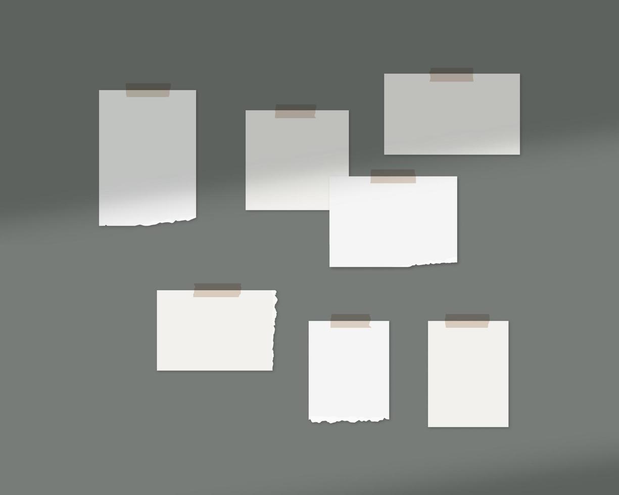 humör styrelse mockup mall. tomma ark vitt papper på väggen med skuggoverlay. mockup vektor isolerade. mall design. realistisk vektorillustration.