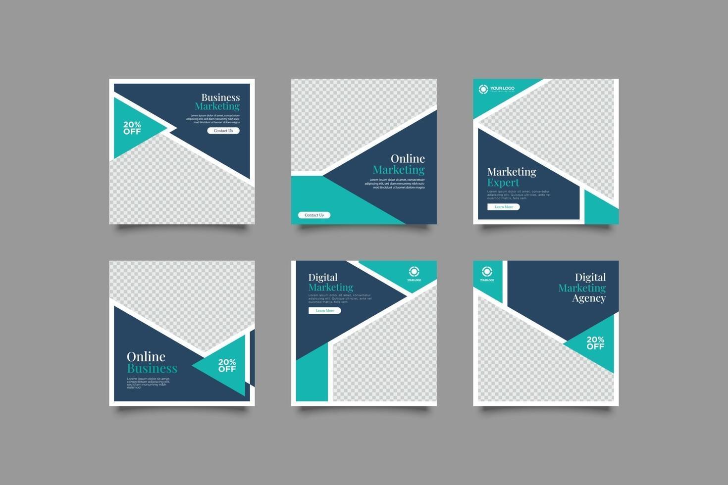 minimalistisk marknadsföringsexpert sociala medier postmall vektor