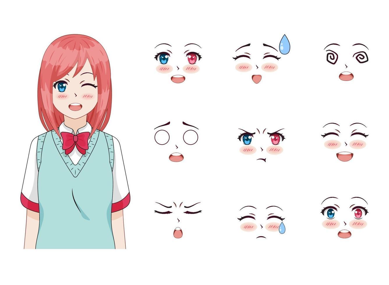 söt anime flicka vektor