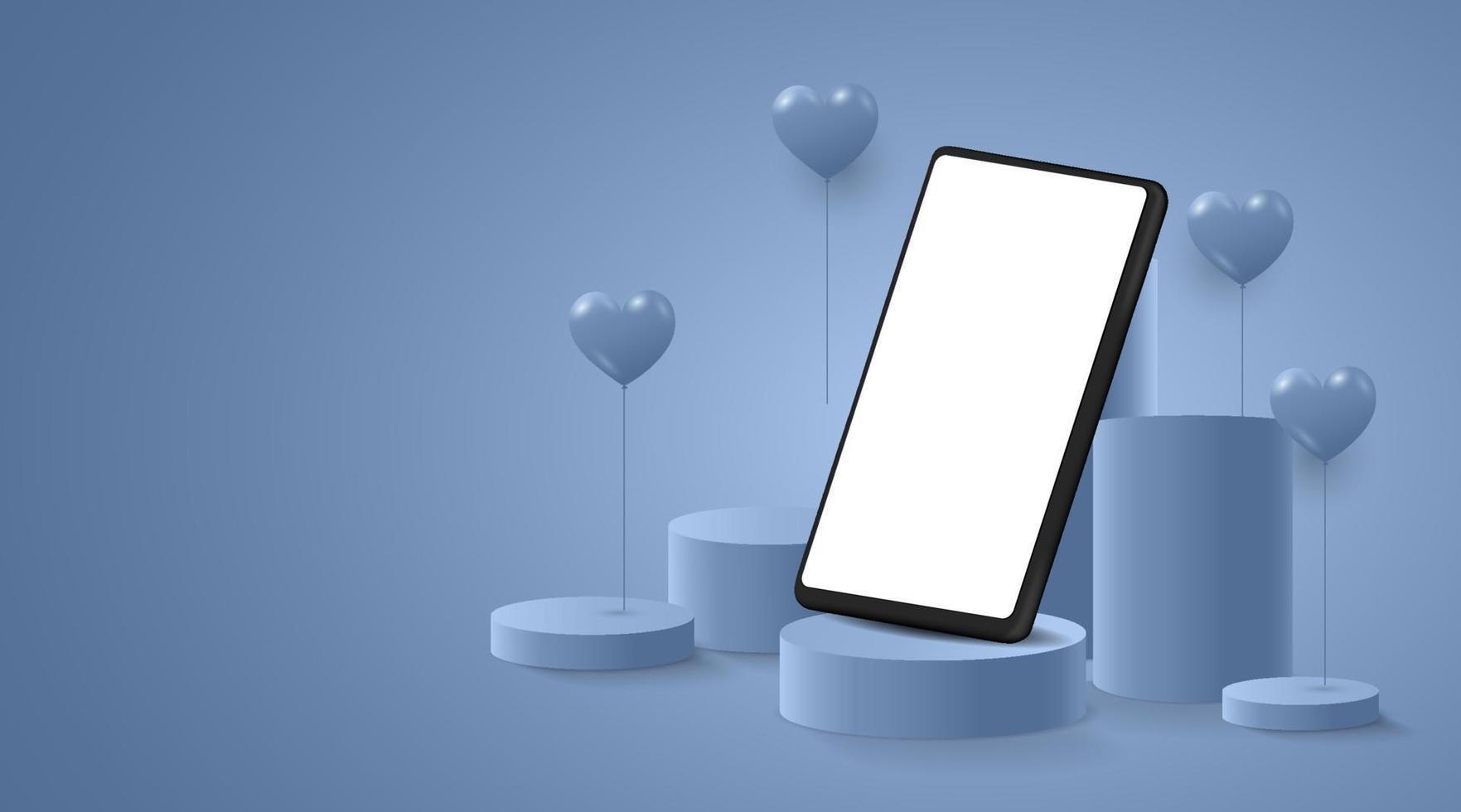minimalistisk mockup. smartphone på scen eller podium för produktpresentation eller utställning på cyanbakgrund. vektor illustration.
