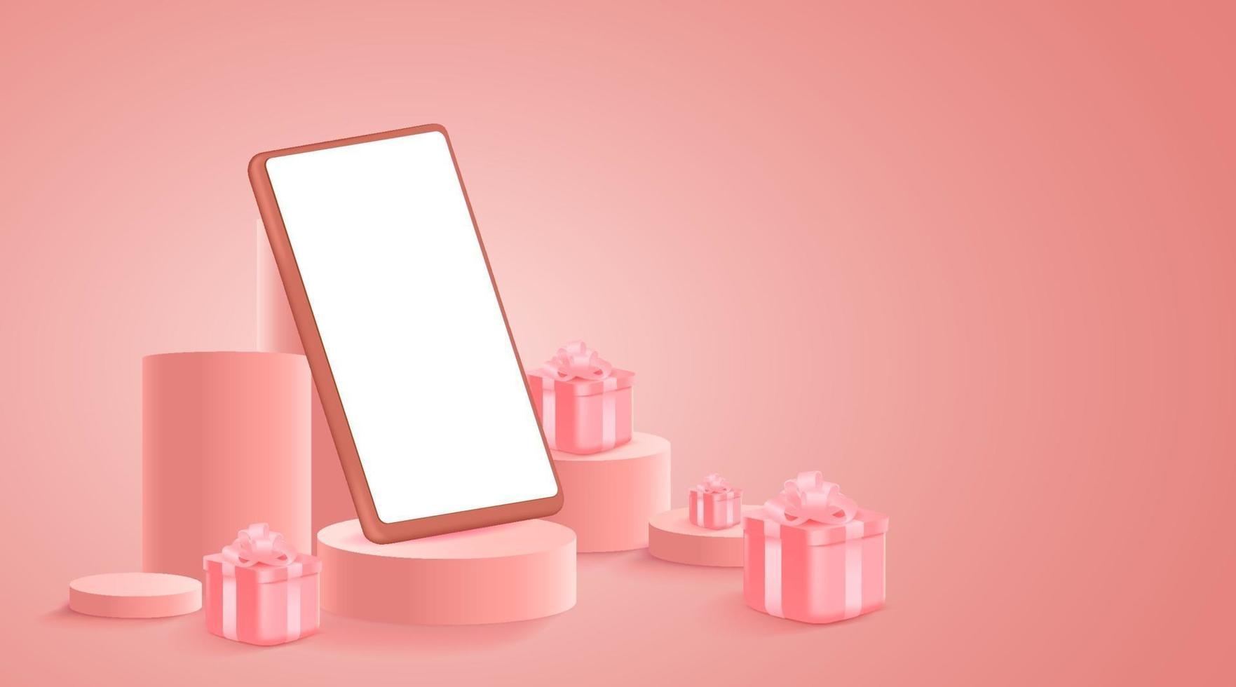 minimalistisk mockup. smartphone på scen eller podium för produktpresentation eller uppvisning på rosa bakgrund. vektor illustration.