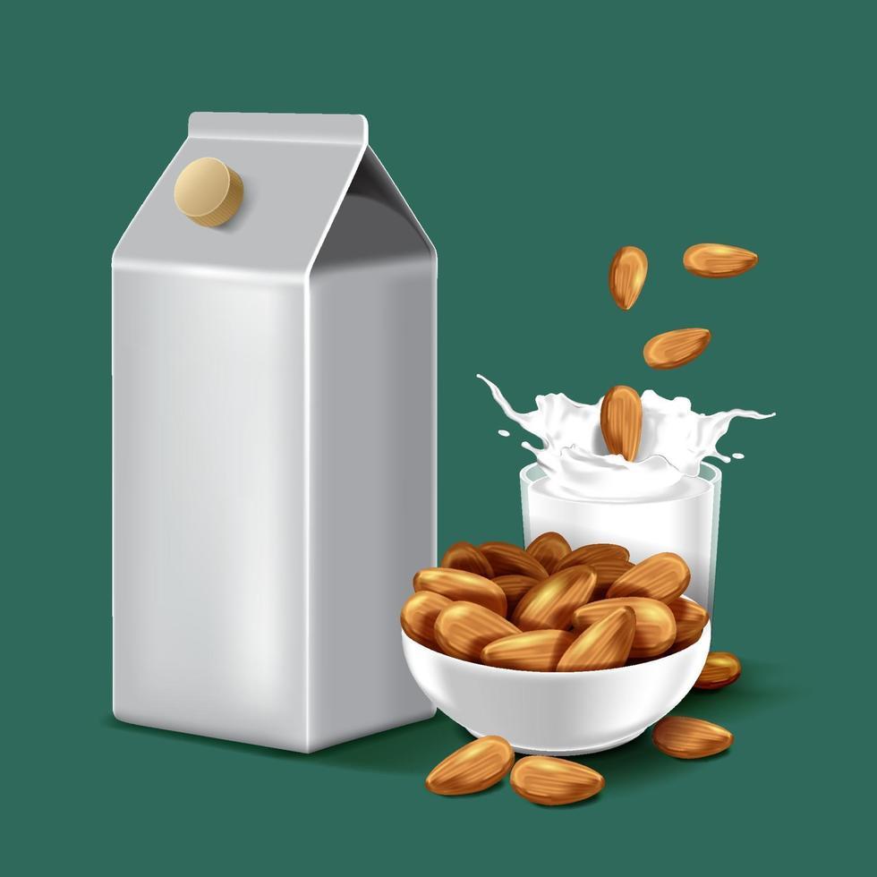 pappersförpackning mandelmjölk med stänkvätska och frön på isolerad bakgrund, vektorillustration vektor