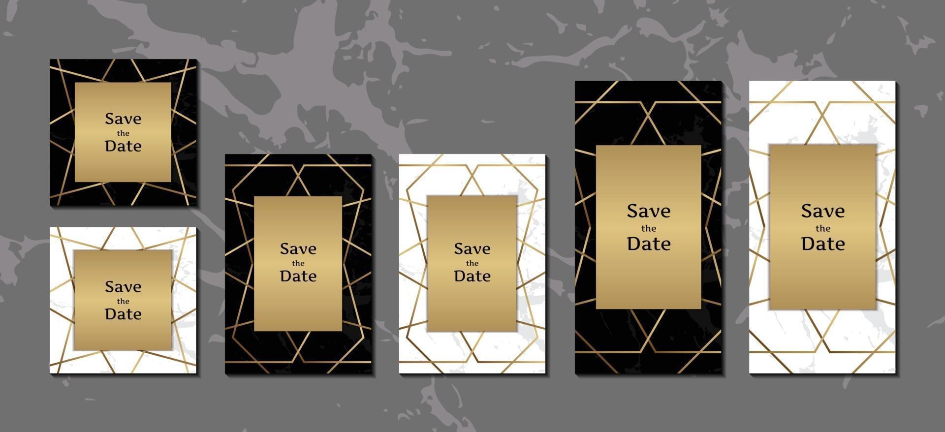 eleganta inbjudningskort svart och vit marmor bakgrundssamling med gyllene geometriska ram vektorillustration vektor