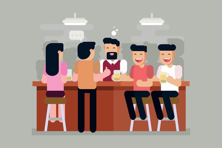 Überfüllten Bar Vektor