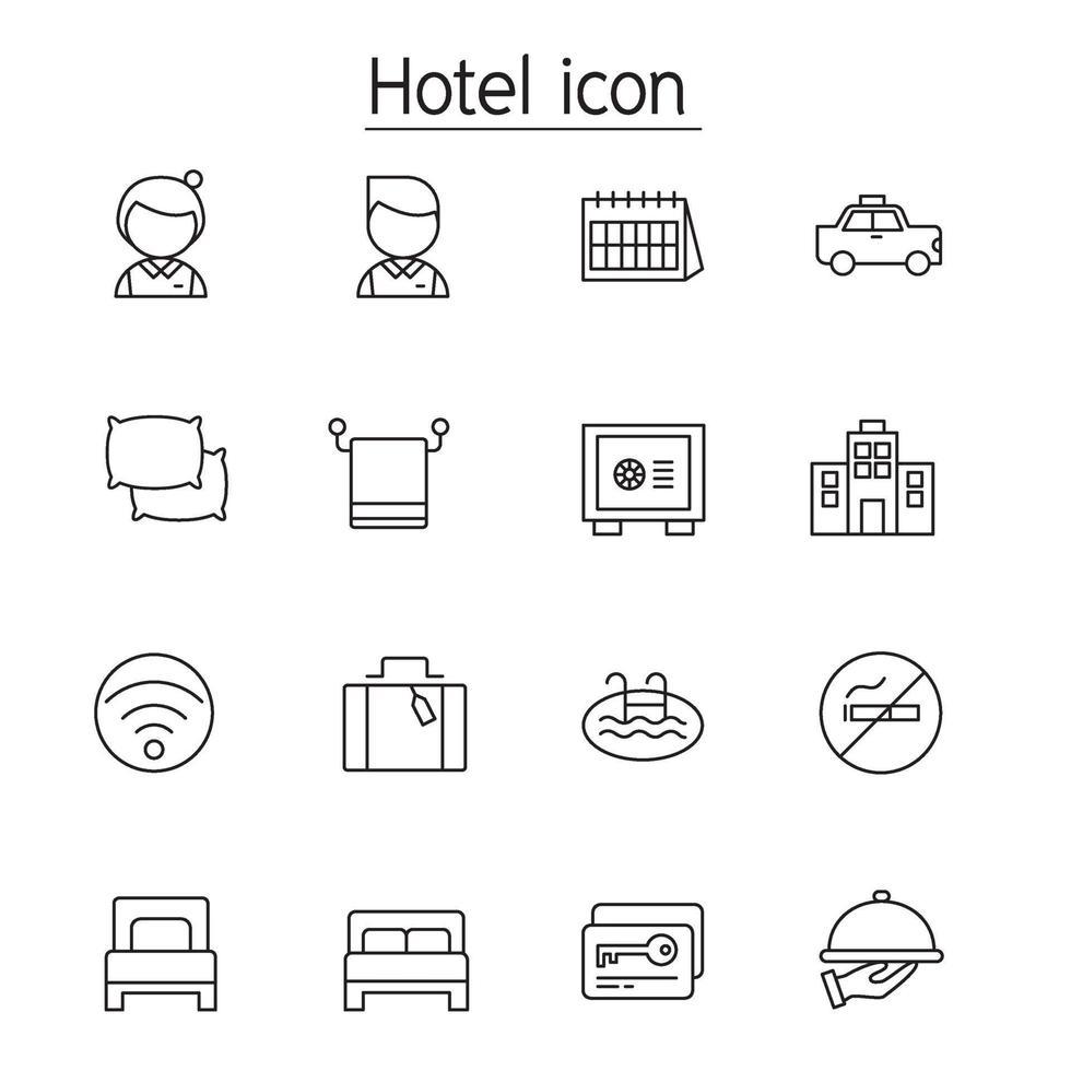 hotell ikonuppsättning i tunn linje stil vektor