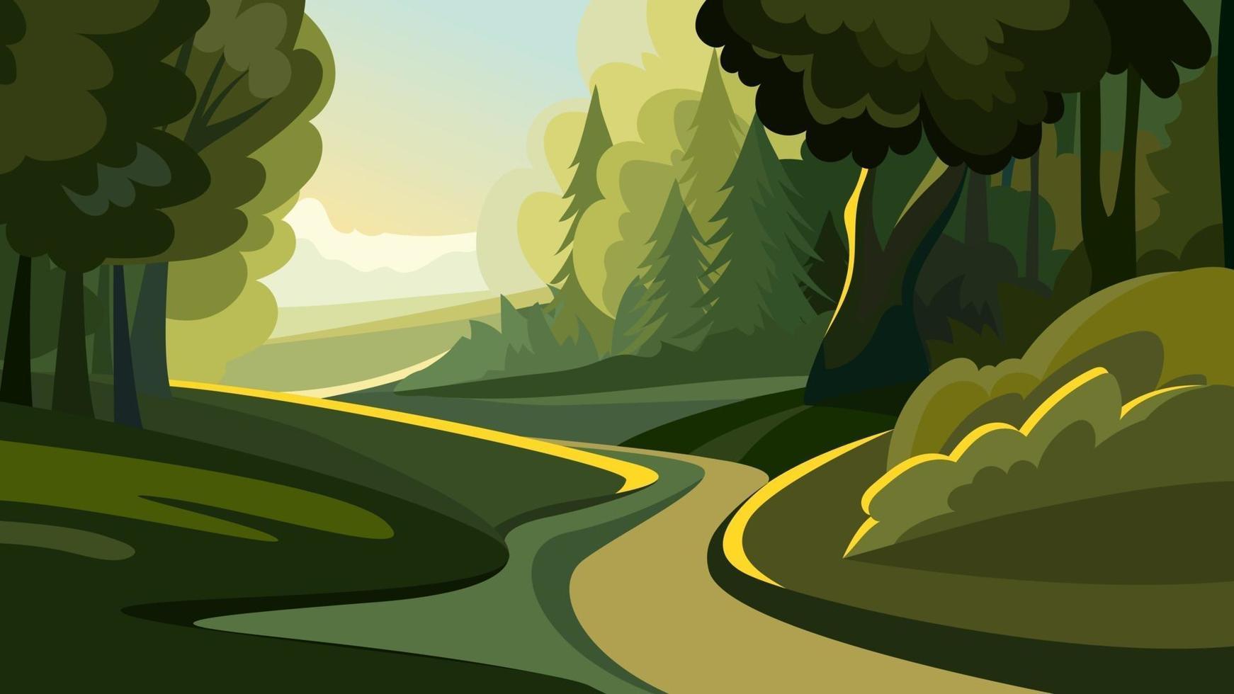 väg i skogen i gryningen vektor