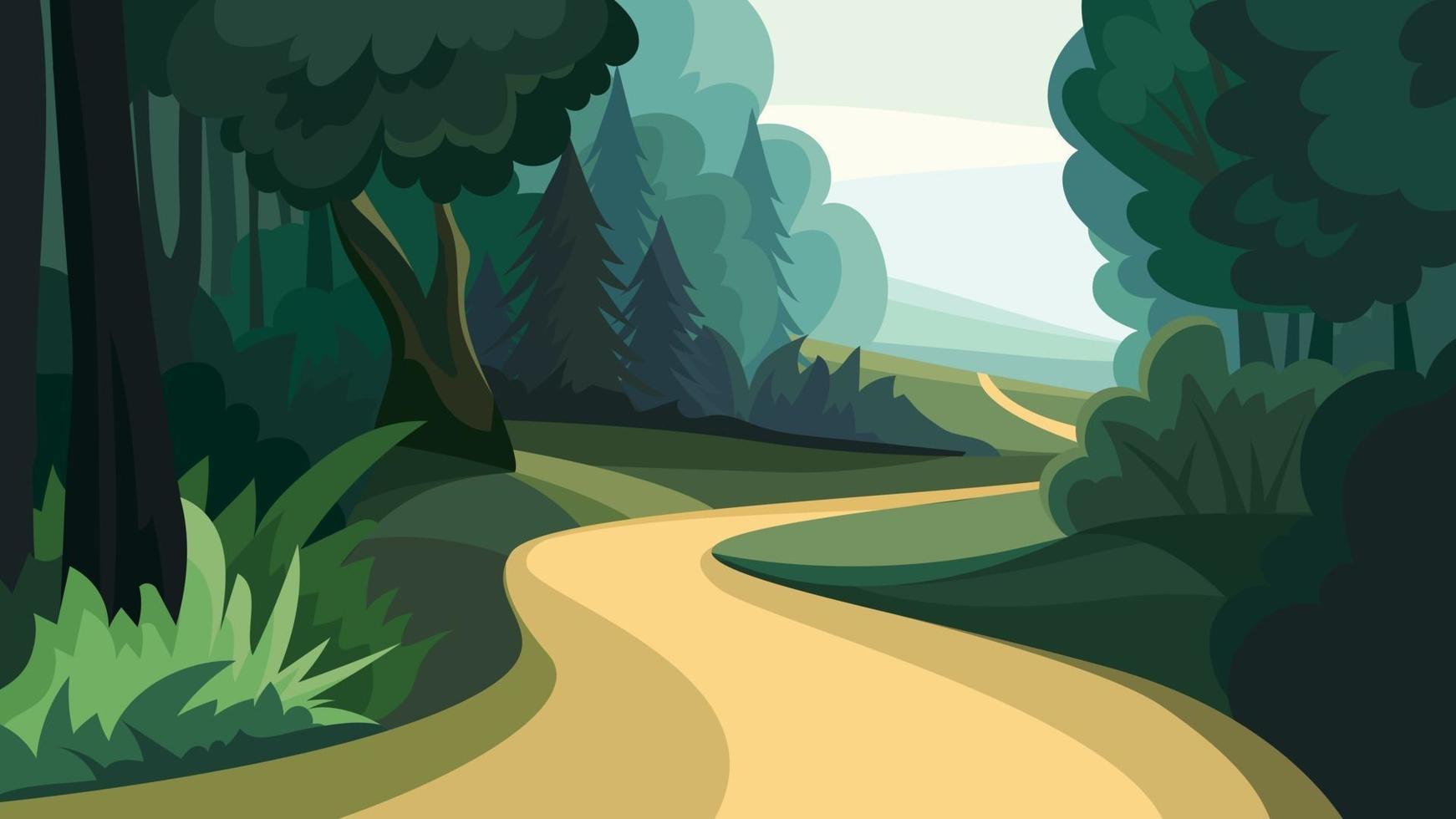 väg i skogen. vektor