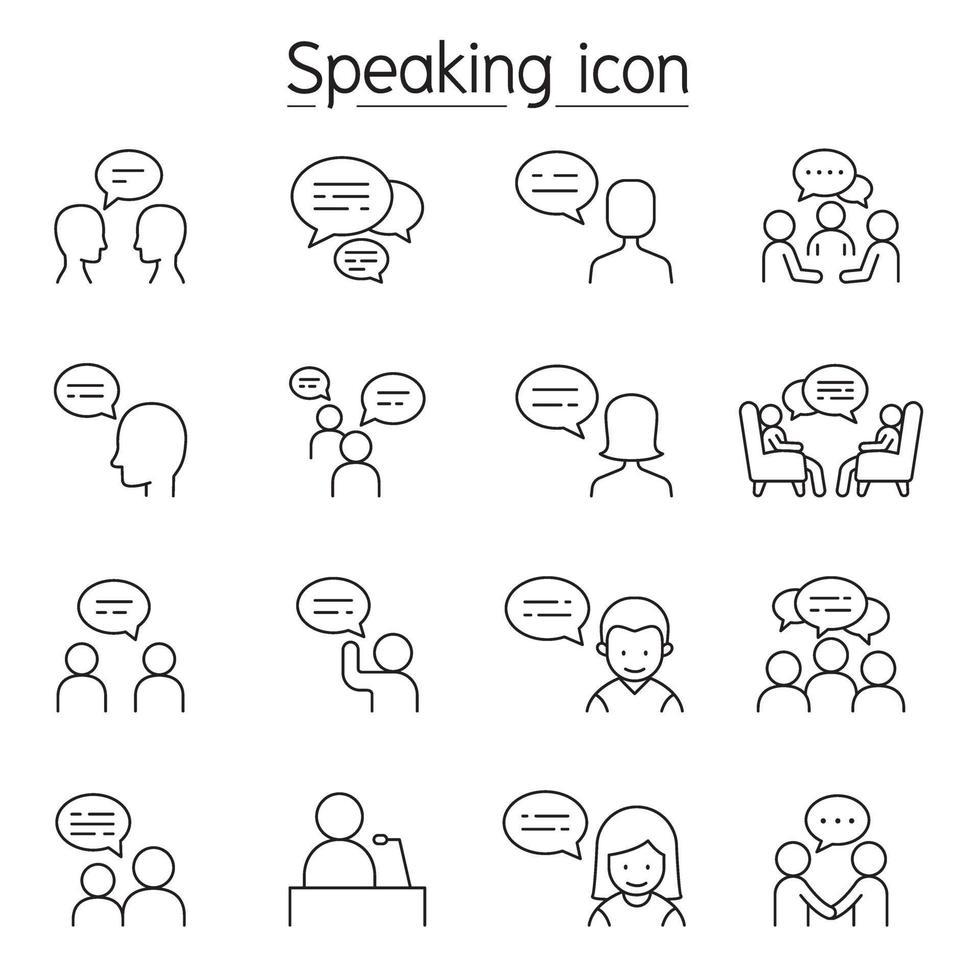 samtal, tal, diskussion, dialog, tal, chatt, konferens, mötesikon i tunn linje vektor