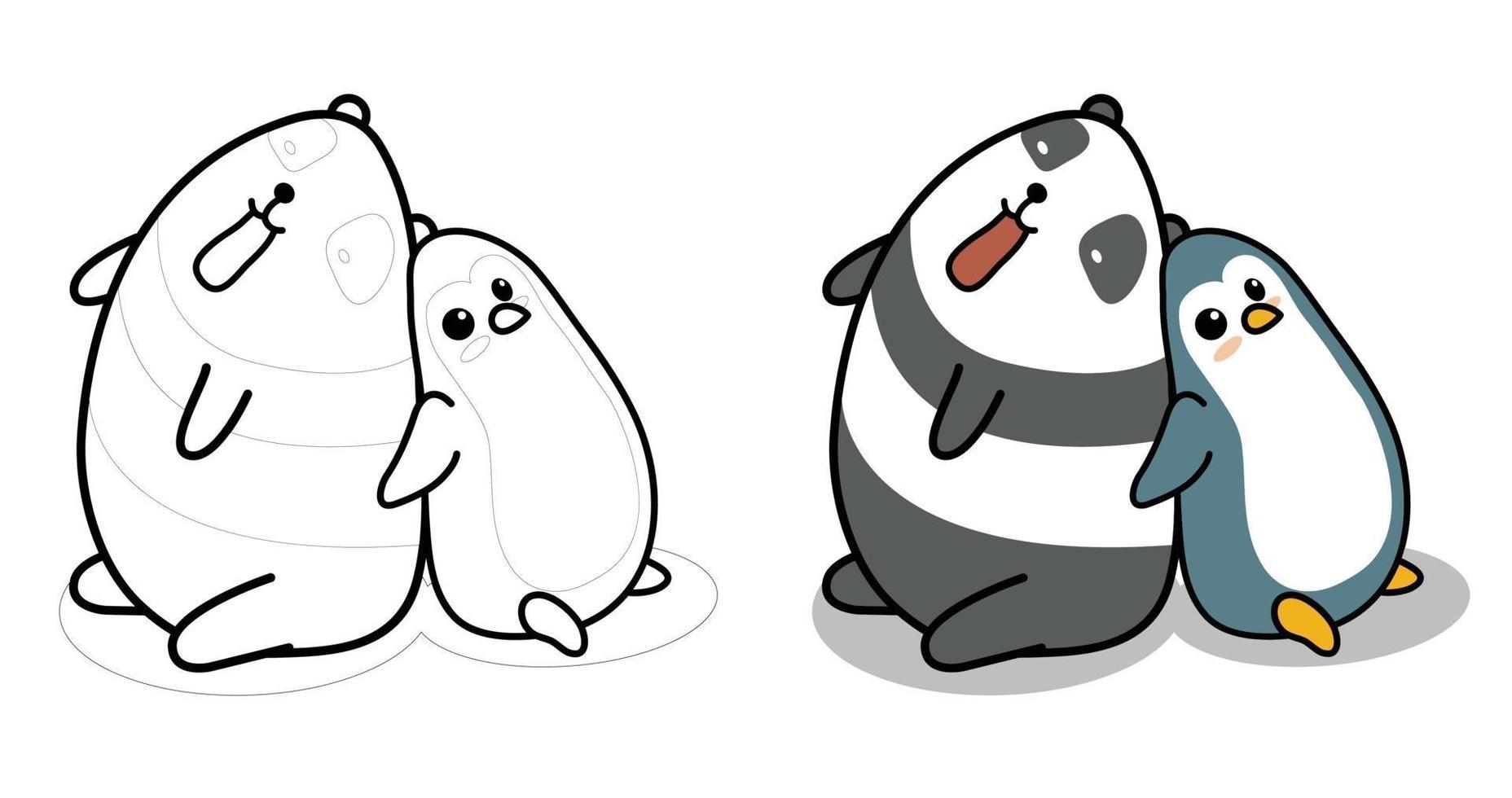 panda och pingvin tecknad målarbok för barn vektor