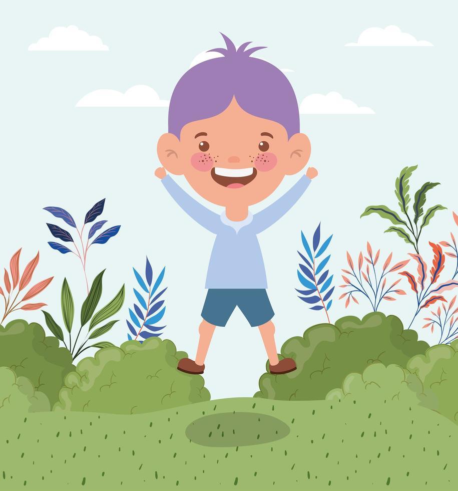glad liten pojke utomhus vektor