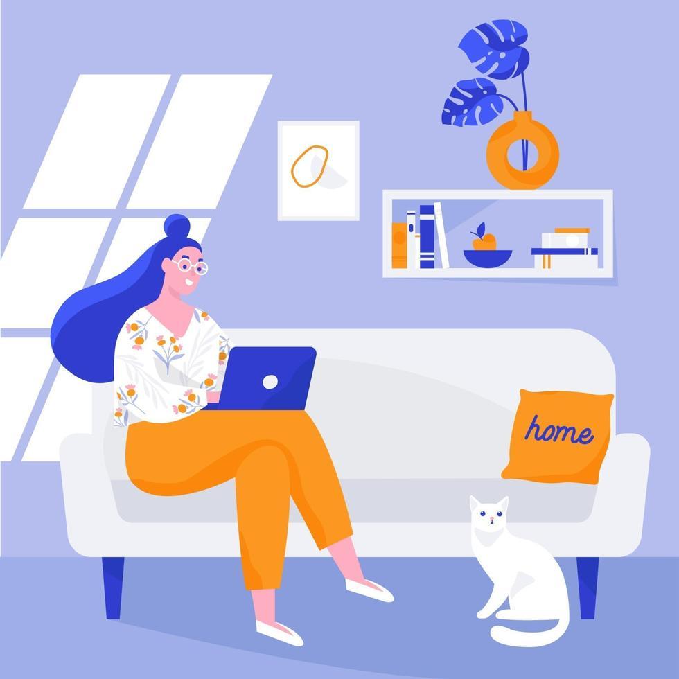 kvinnasammanträde i soffan och arbetar på den bärbara datorn. arbeta hemifrån, fjärrarbete. vektor platt illustration.