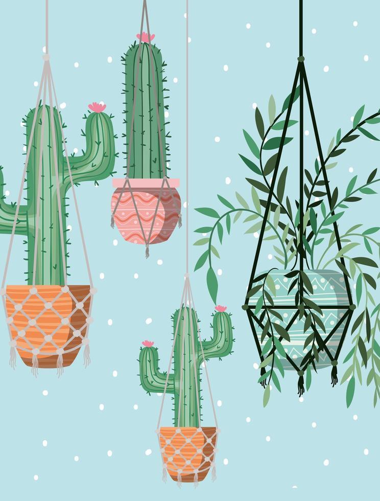 krukväxter i makramehängare vektor