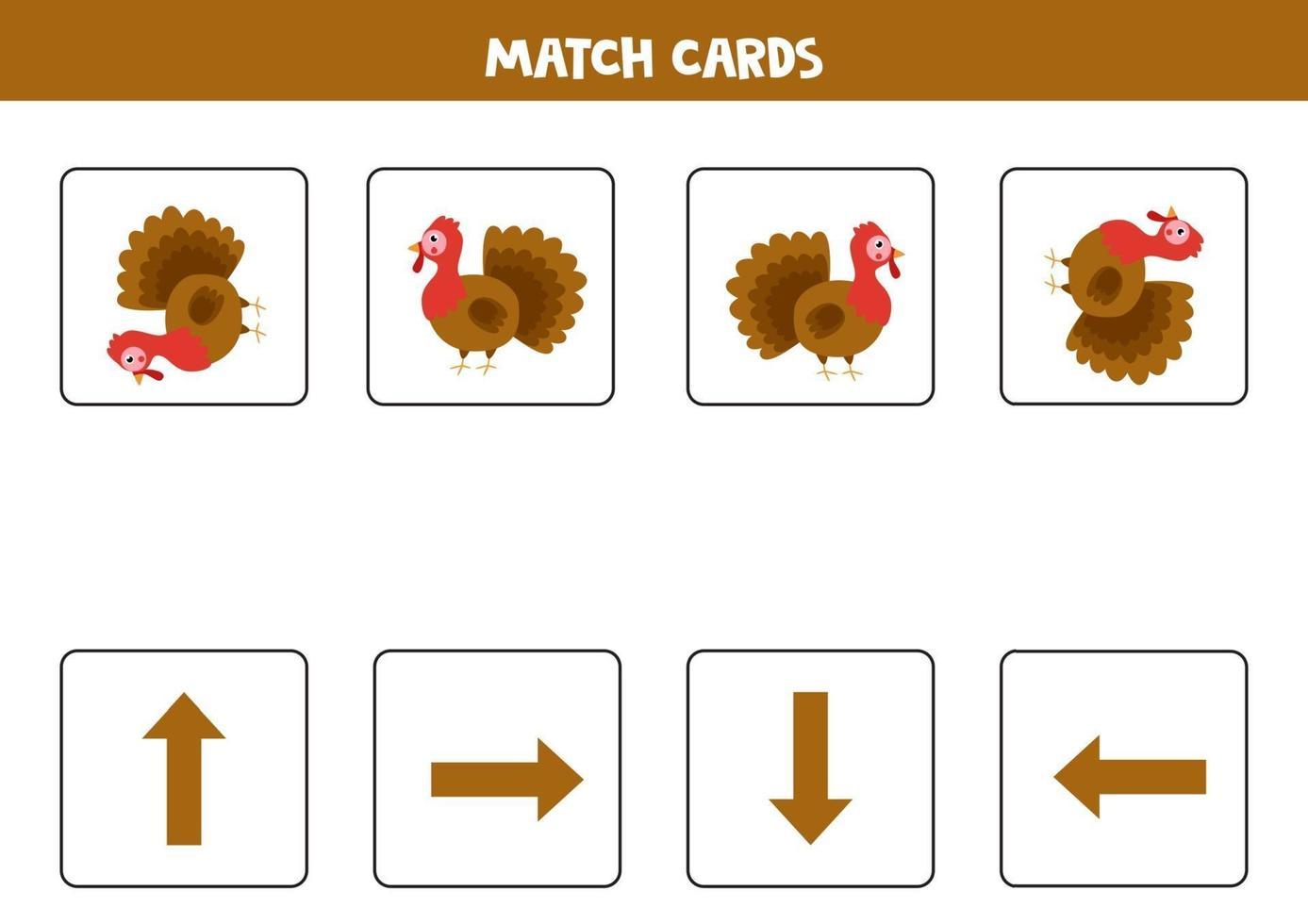 links, rechts, oben oder unten. räumliche Orientierung mit Cartoon Truthahn. vektor