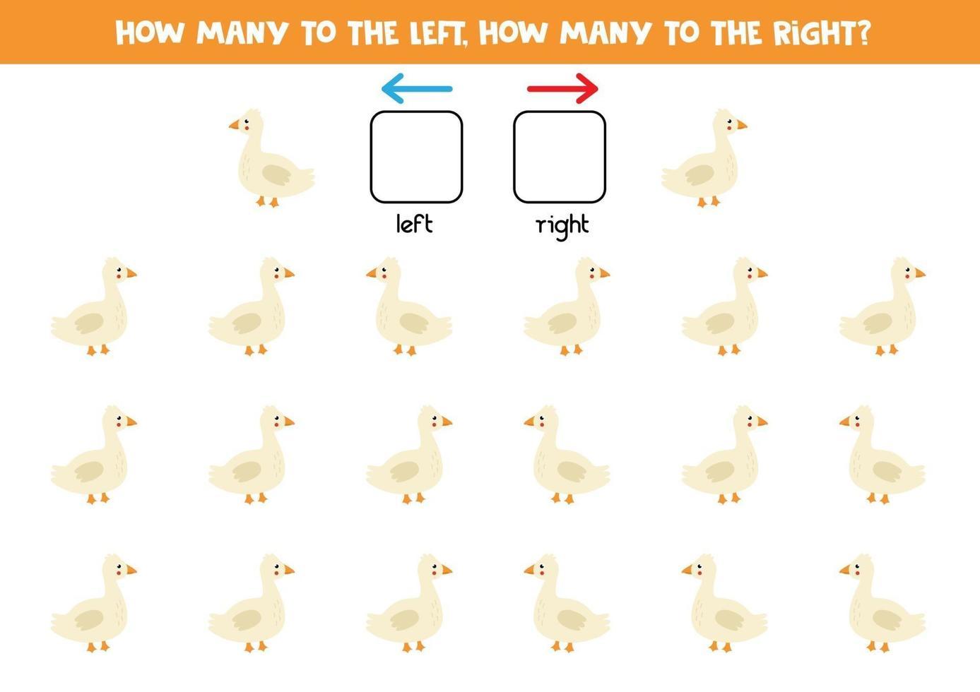 vänster eller höger med söt gås. logiskt kalkylblad för förskolebarn. vektor