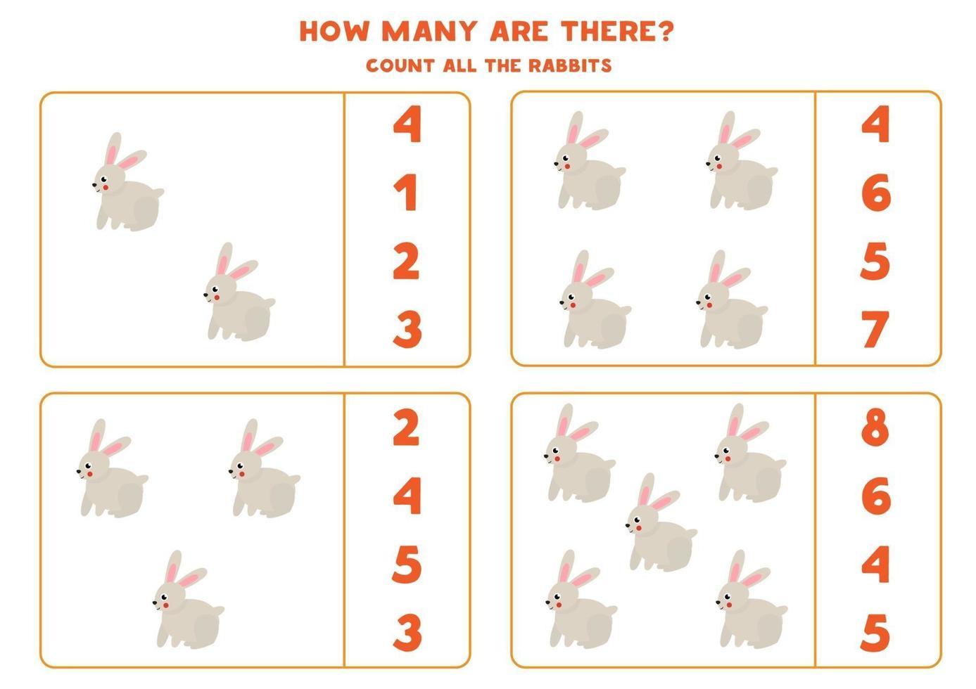 räkna spel med tecknad kanin. matematik kalkylblad. vektor