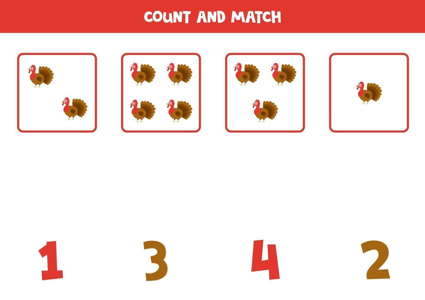 räkna spel med tecknade kalkoner. matematik kalkylblad. vektor