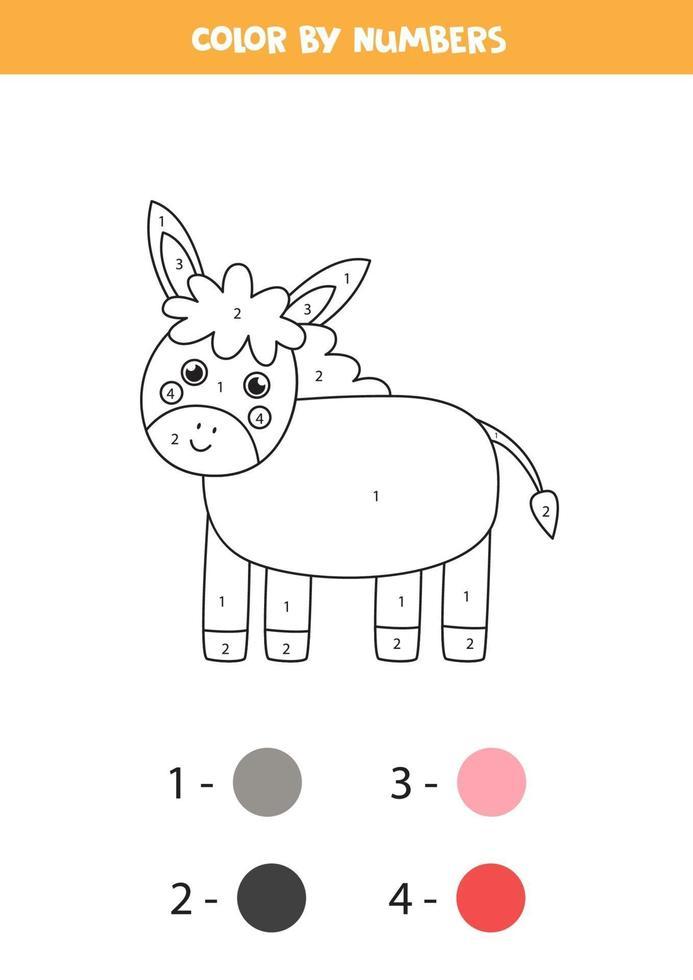 färg söt åsna med siffror. gårdsdjurs kalkylblad. vektor