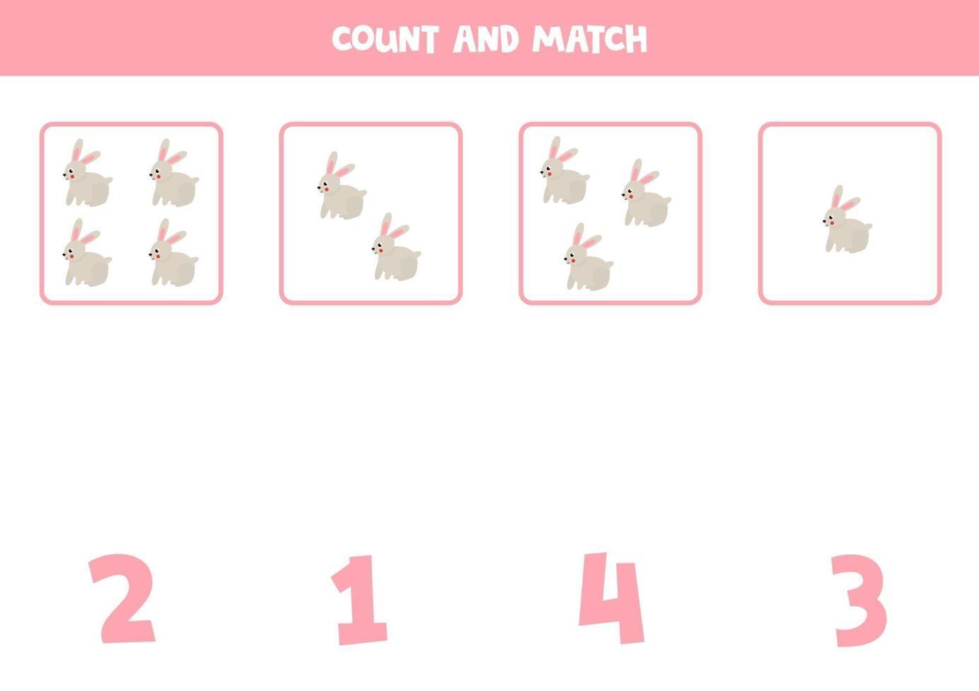 räkna spel med tecknade kaniner. matematik kalkylblad. vektor