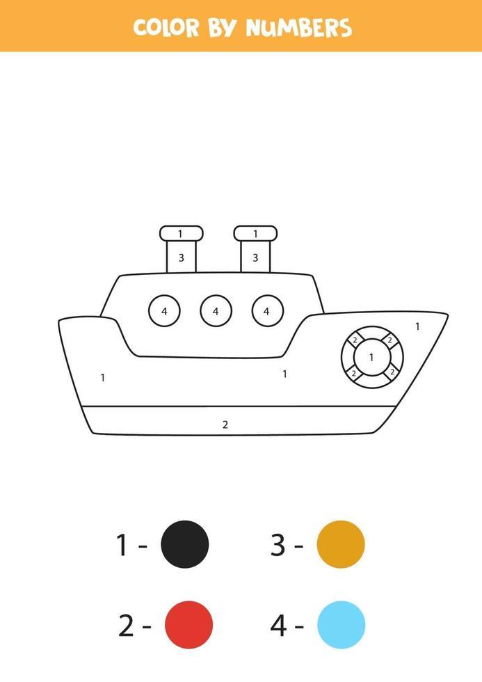 färg tecknad fartyg med siffror. transport kalkylblad. vektor
