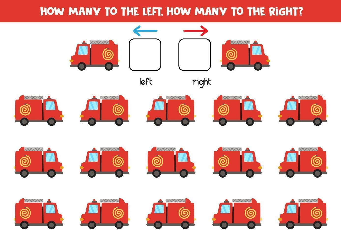 vänster eller höger med brandbil. logiskt kalkylblad för förskolebarn. vektor