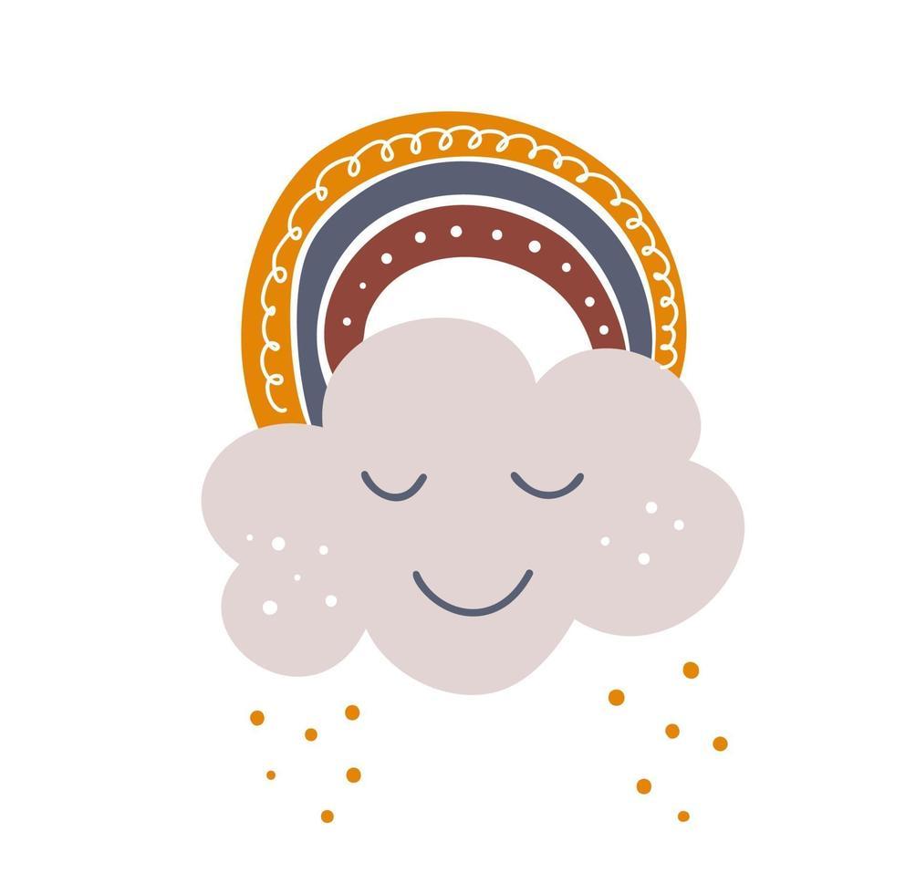 konst skandinavisk regnbåge med moln, färg penseldrag. baby design för födelsedag inbjudan eller baby shower, affisch, kläder, plantskola väggkonst och vykort. vektor