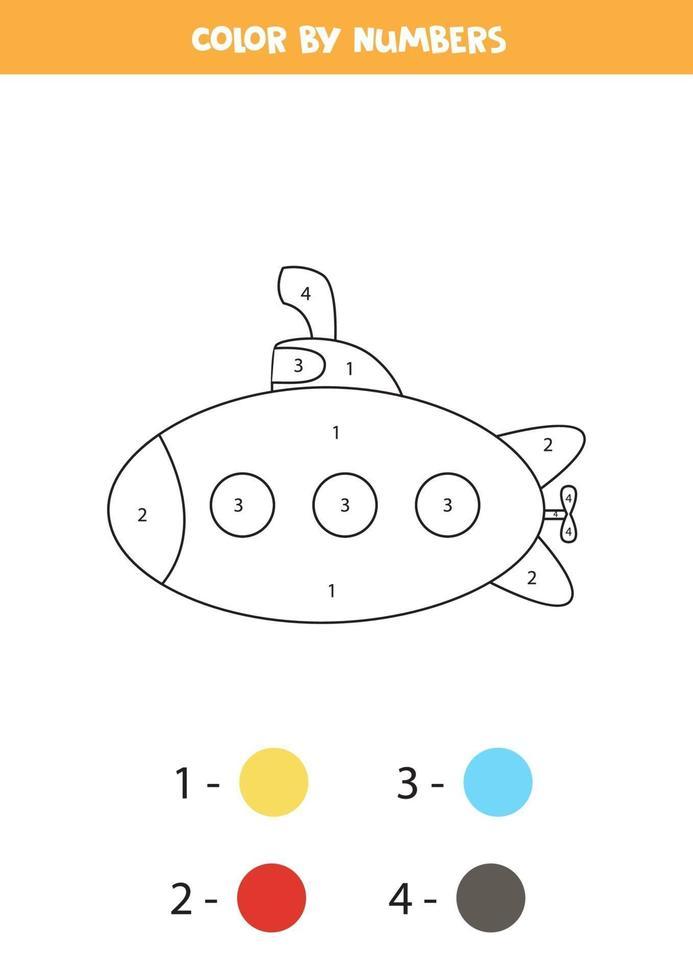 färg tecknad ubåt med siffror. transport kalkylblad. vektor