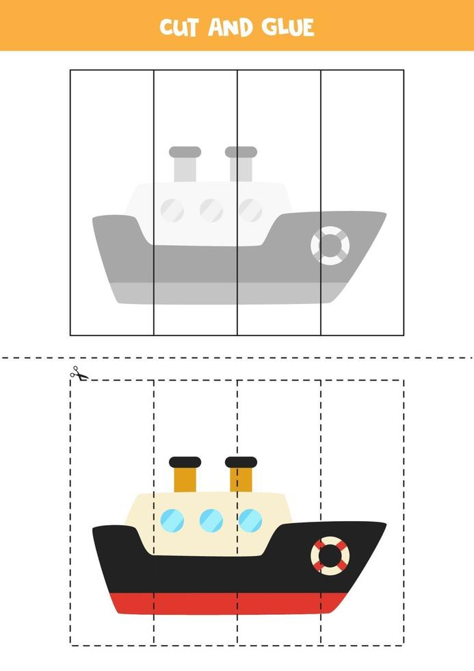 klipp och lim spel för barn. tecknad fartyg. vektor