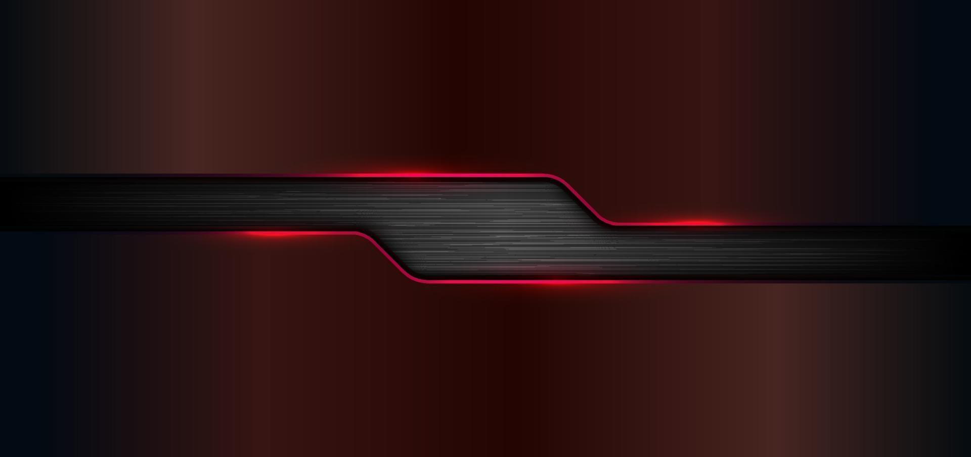 3D-baner rengöringsdukmall geometriska röda glöd glänsande metalliska på svart metall bakgrund och textur vektor