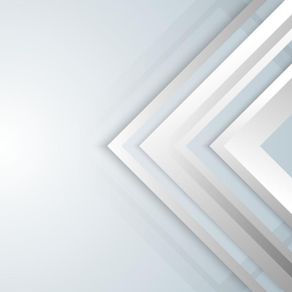abstrakte geometrische weiße und graue Pfeilglanzschichtelemente entwerfen Hintergrund vektor