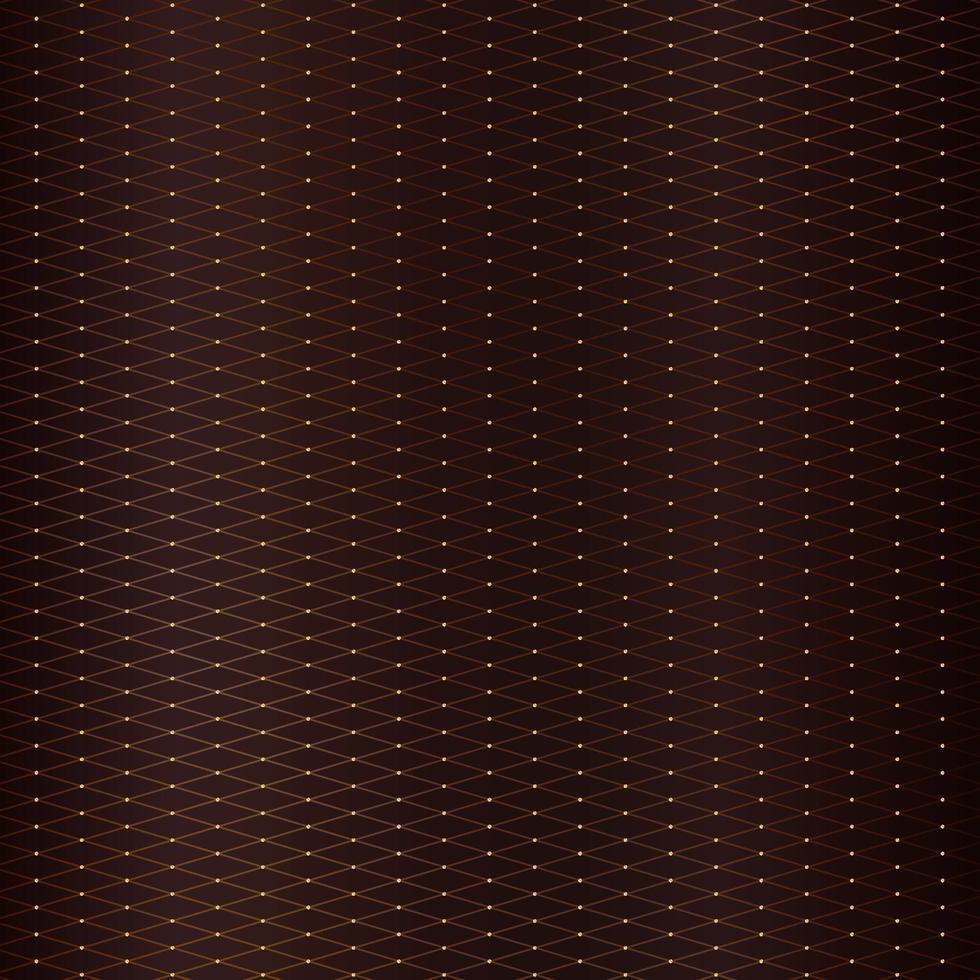 abstrakt gyllene fyrkantiga linjer rutnät med cirklar mönster på brun metallisk bakgrund lyxstil. vektor