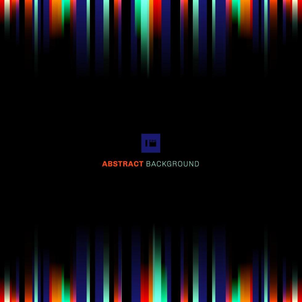 abstrakt levande rand belysning vertikala linjer blå, grön, röd färg på svart bakgrund vektor