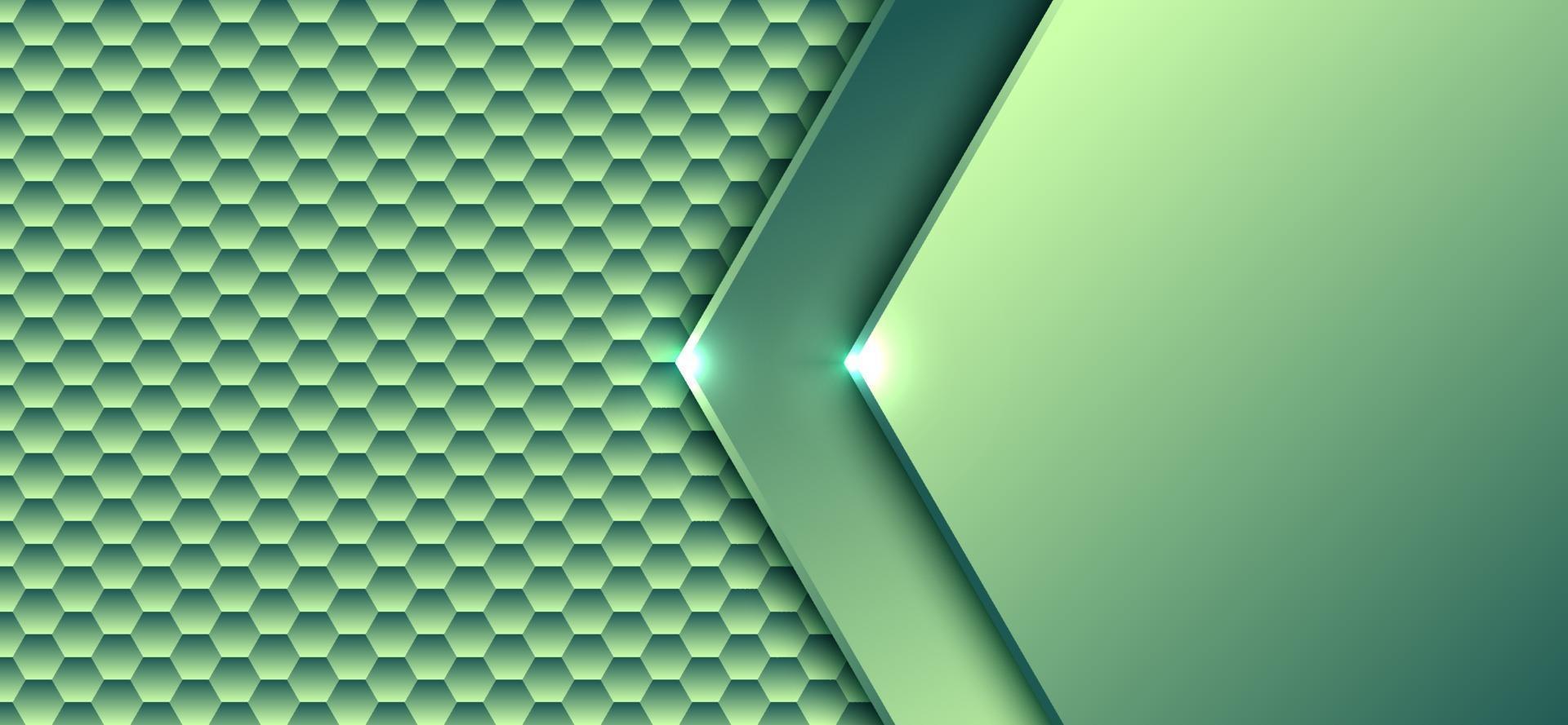 abstrakt teknik digitalt koncept grönt lutning sexkantigt elementmönster med ljus konstverk design bakgrund och konsistens vektor