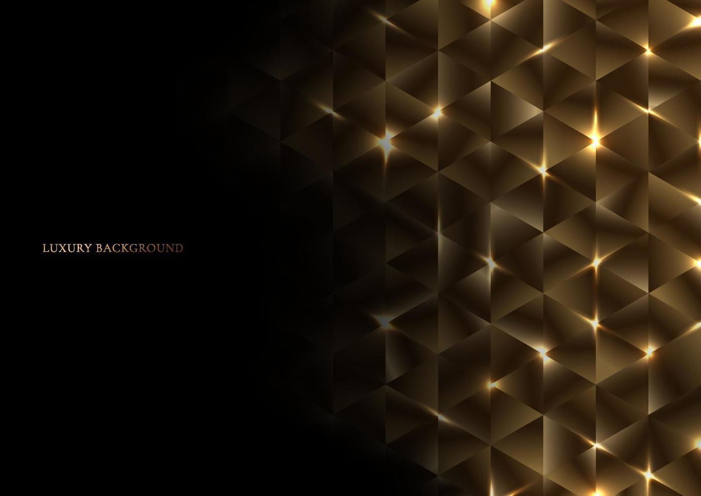 abstrakt guld geometrisk triangel form lyxmönster med belysning på svart bakgrund vektor