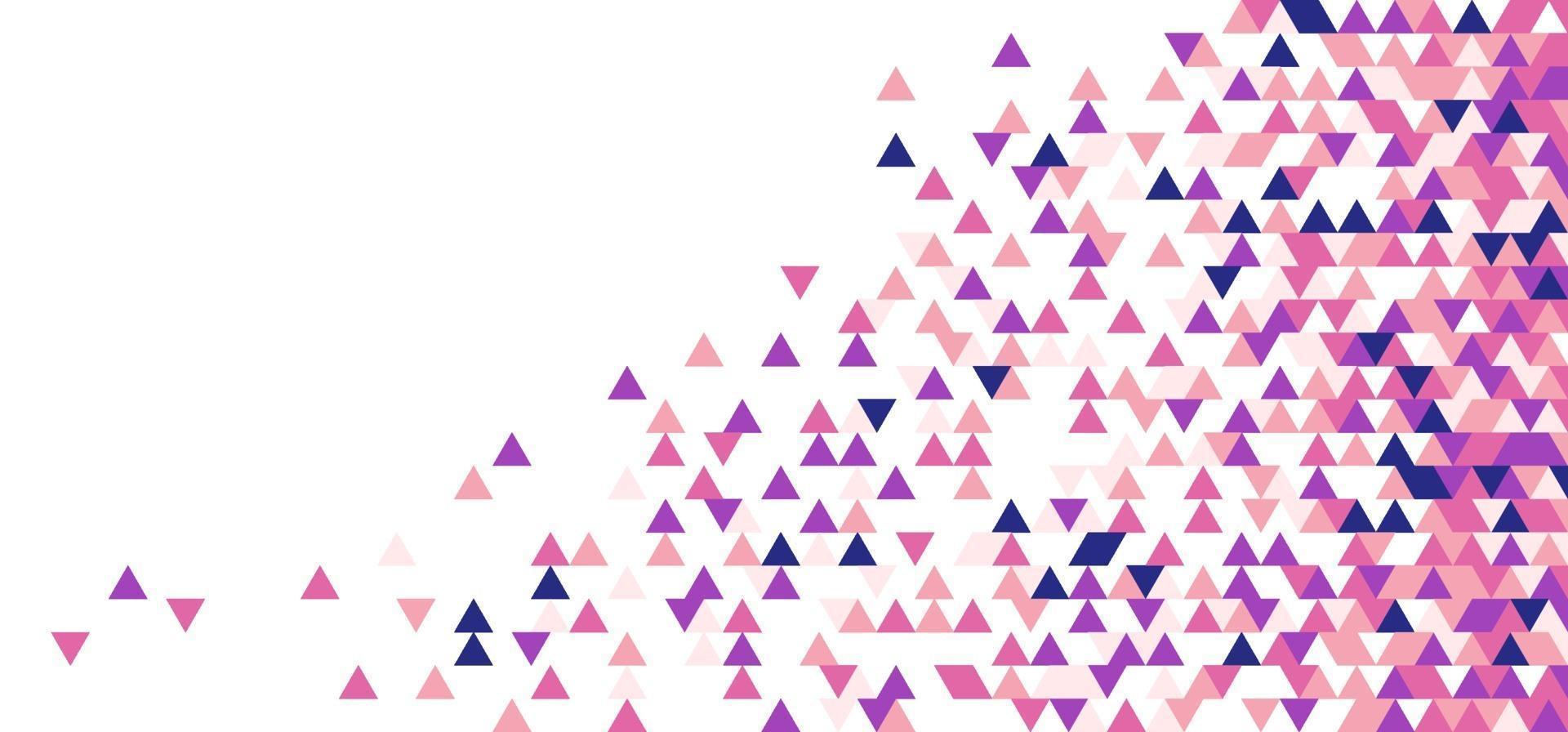 abstrakt rosa, lila, blå geometriska trianglar formar mosaikmönster på vit bakgrund vektor