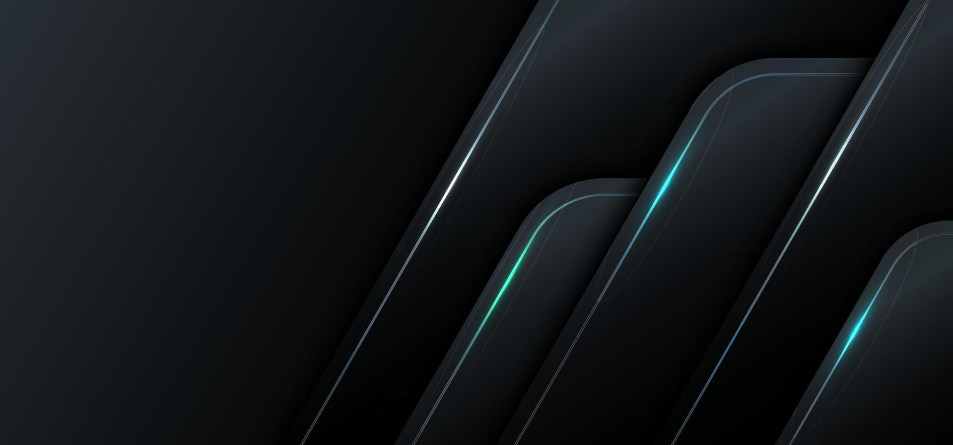 banner webbmall 3d geometrisk svart metallic med blått ljus teknik koncept. vektor