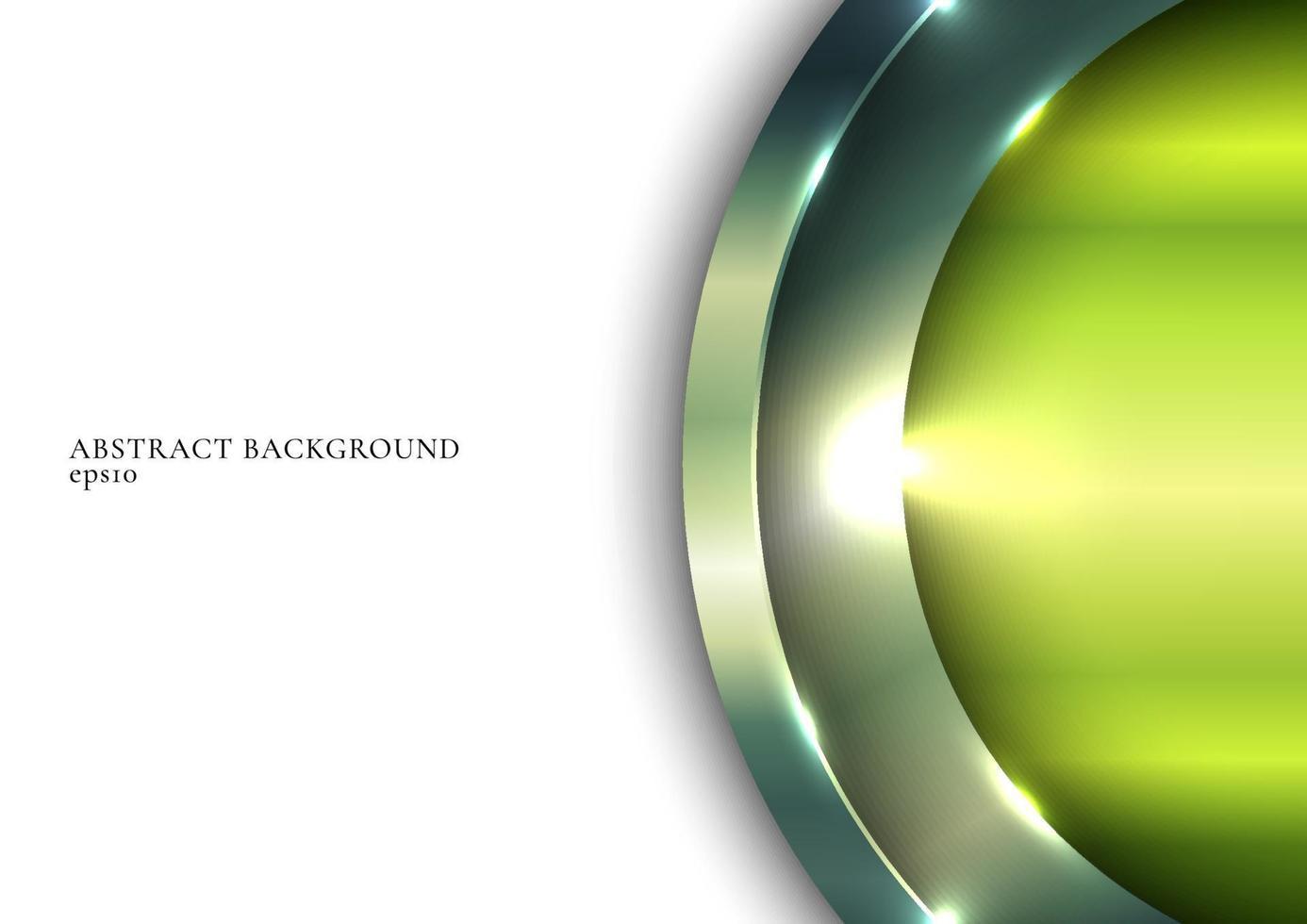 Grüner metallischer glänzender Kreis 3d, der mit Beleuchtung auf weißem Raumhintergrund überlappt vektor
