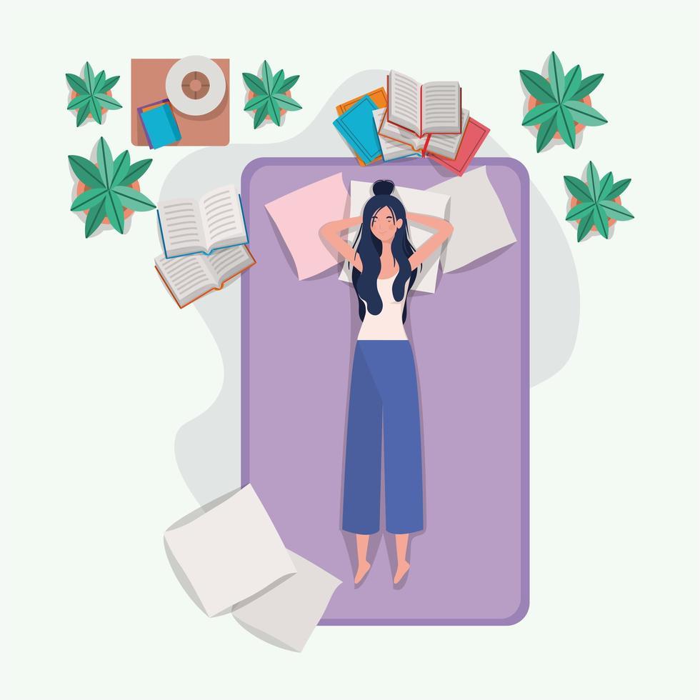 ung kvinna som kopplar av i madrassen i sovrummet vektor