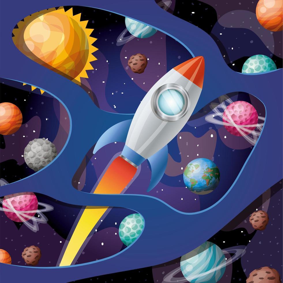 Rakete mit Flamme und Planeten entwerfen Vektorillustration vektor