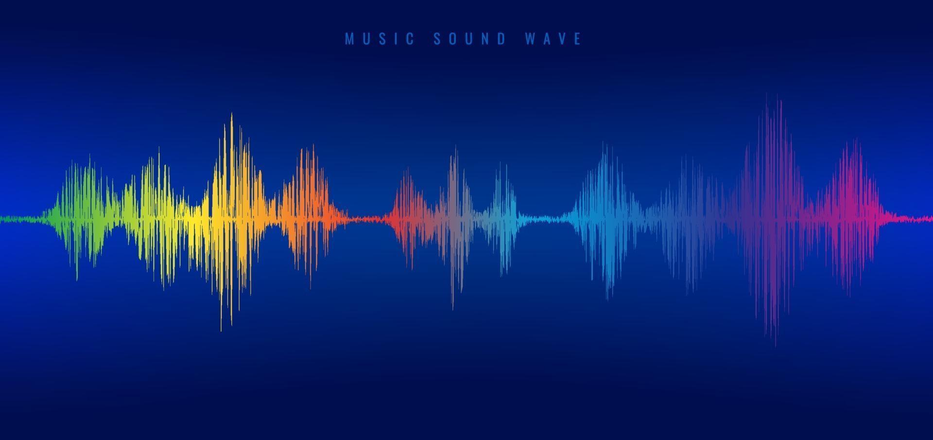 Regenbogenmusik Schallwellenlinienentzerrer auf blauem Hintergrund. vektor