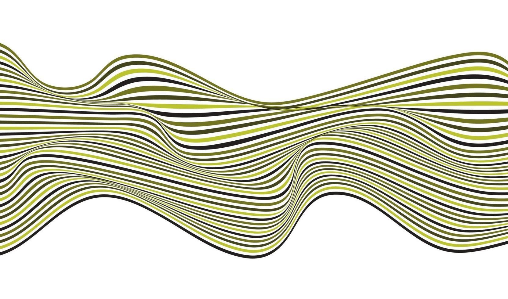 optisches Kunstdesign des abstrakten grünen Wellenlinienmusters lokalisiert auf weißem Hintergrund vektor