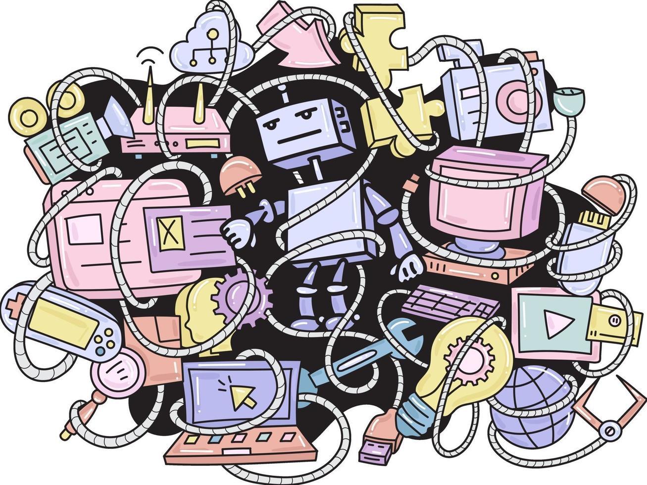 doodle robot och prylar mönster bakgrund vektor