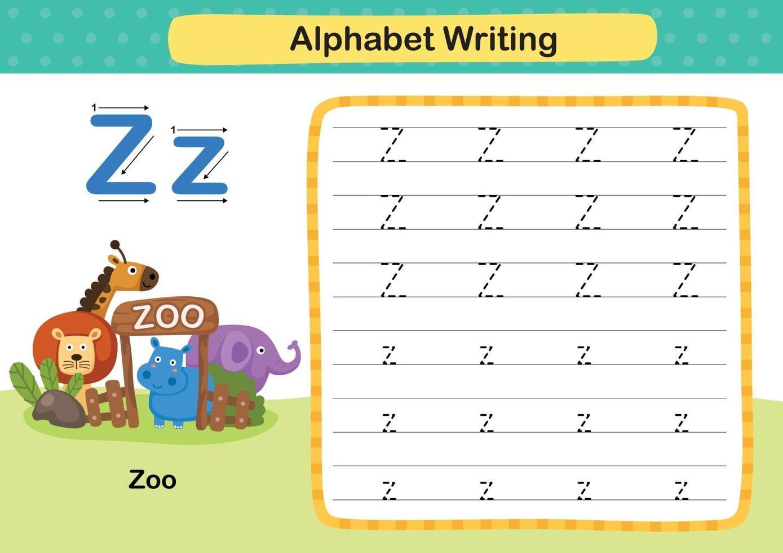 alfabetet bokstaven z-zoo övning med tecknad ordförråd illustration, vektor
