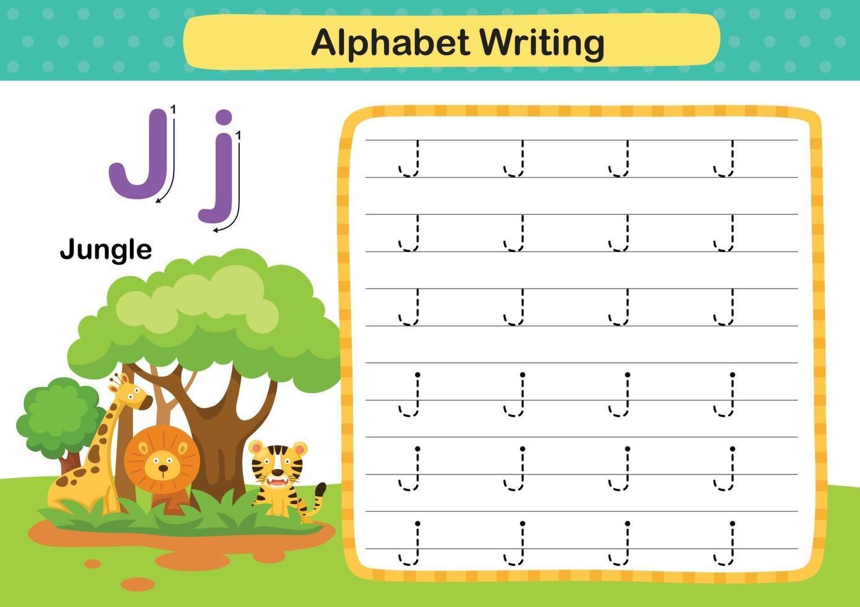 alfabetet bokstaven j-djungel övning med tecknad ordförråd illustration, vektor