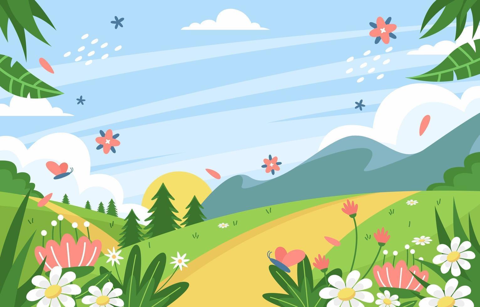 färgrik blommig vårbakgrund vektor