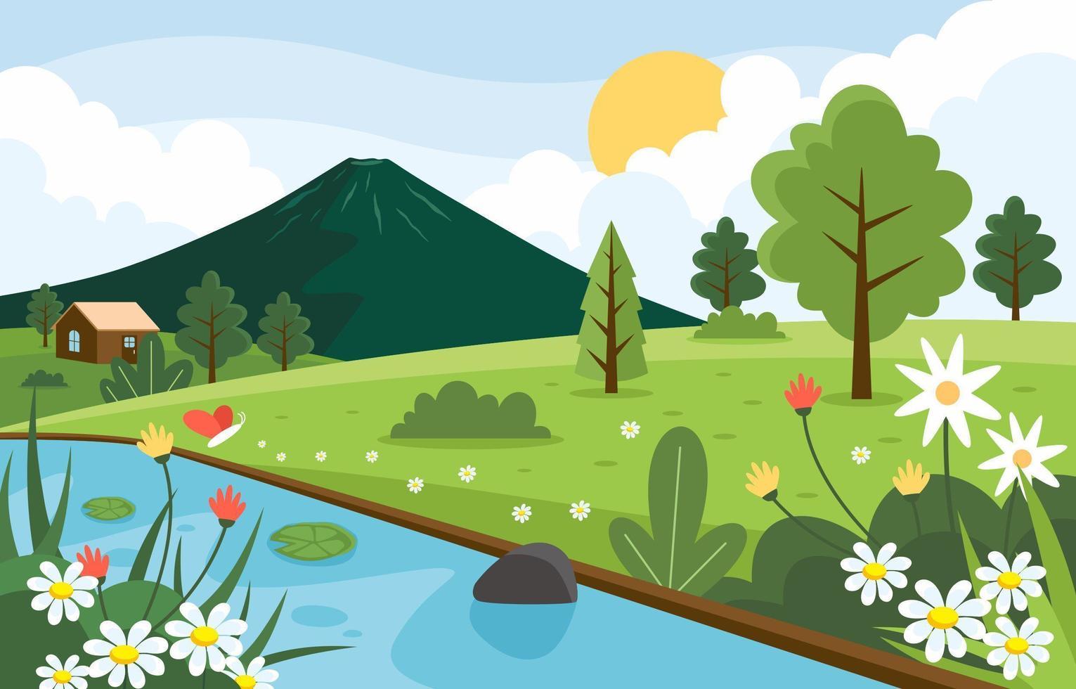 Natur Frühlingslandschaft vektor