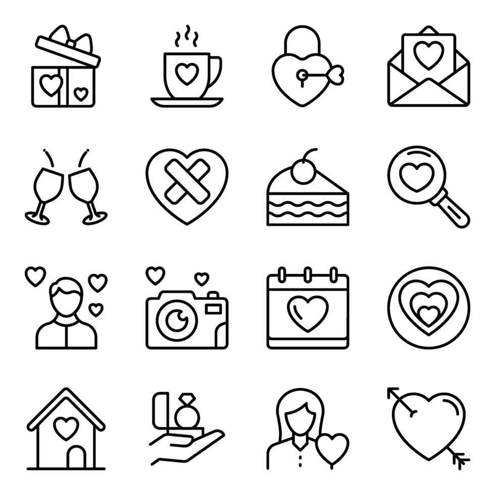 förpackning med valentiner linje ikoner vektor