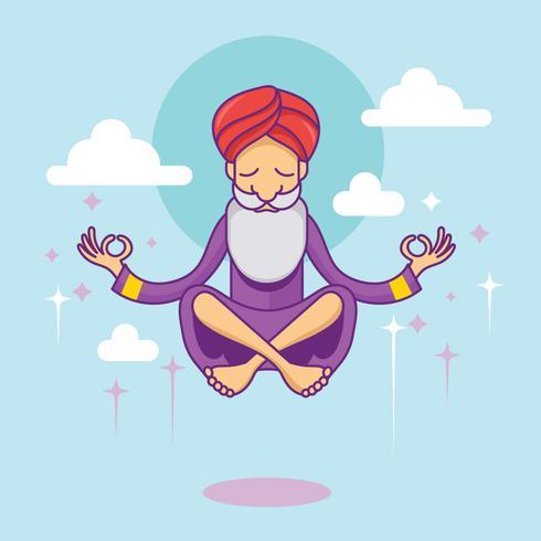 Meditation Guru i himlen vektor