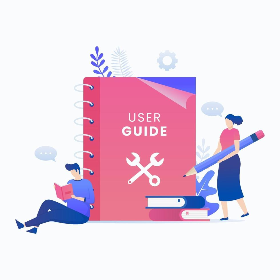 Benutzerhandbuch Buch flache Vektor-Konzept vektor