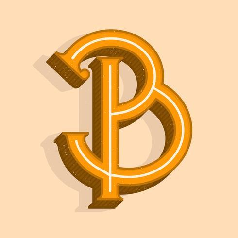 vintage brev b typografi vektor